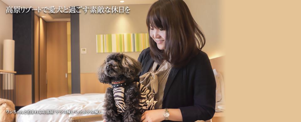 高原リゾートで愛犬と過ごす素敵な休日を~ワンちゃんと泊まれるお部屋「テラス棟(ペットホテル棟)」